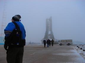 Foto zeigt eine Raketenstartplatz in Kasachstan.  Deutsch-Russisches Raumfahrtprojekt. Thema: Maschinenbau. Karrieremöglichkeit für Ingenieure.